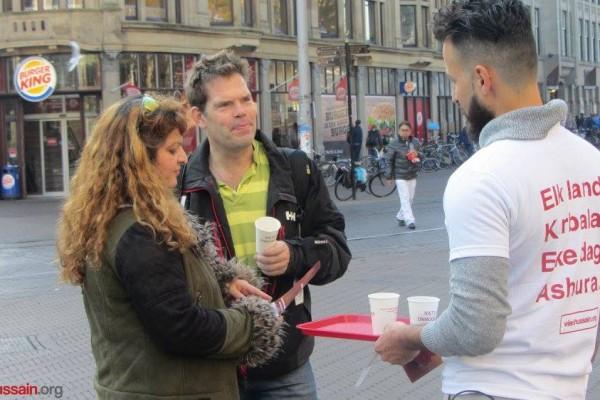 Reps in Netherlands giving hot chocolate to passers by and spreading the word
