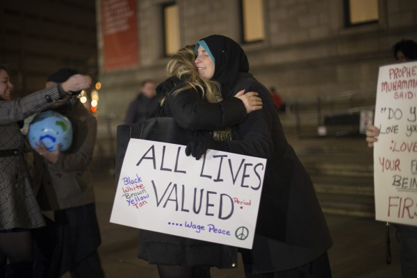 BOSTON, 18th Nov, 2015: Muslim Women in Black, a silent vigil at Copley Square that mourned the loss of lives to the hands of violence. The event Facebook page called on Muslim women primarily as they believe their voices are often no heard. (Photo by: Nikita Sampath/BUNS)